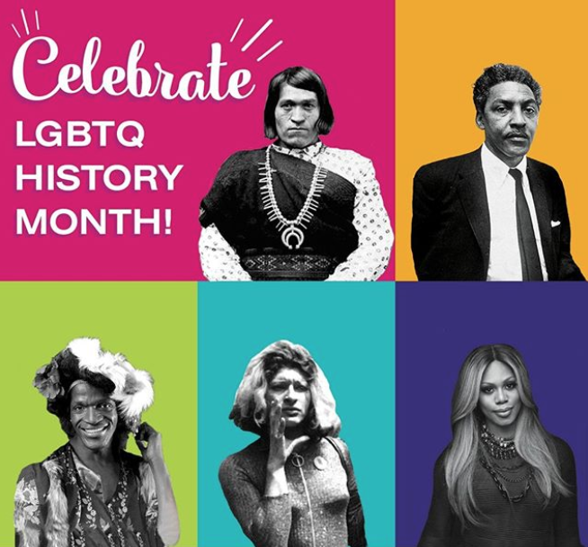 TEXT: Celebrate LGBTQ History Month! This is a square graphic that features black and white photos of five important figures in LGBTQ history on different solid-colored backgrounds composing the GLSEN rainbow. From top left to bottom right, these historical figures are: We'Wha, Bayard Rustin, Marsha P. Johnson, Silvia Rivera, and Laverne Cox.