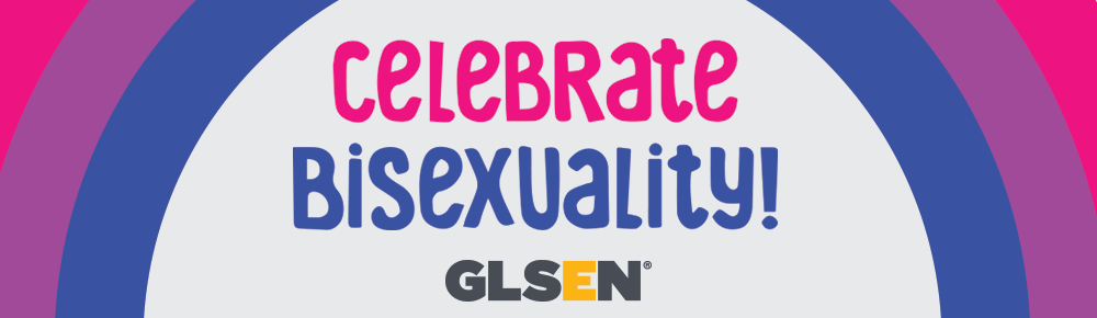 """Rainbow in bi pride colors with text: """"Celebrate bisexuality!"""""""