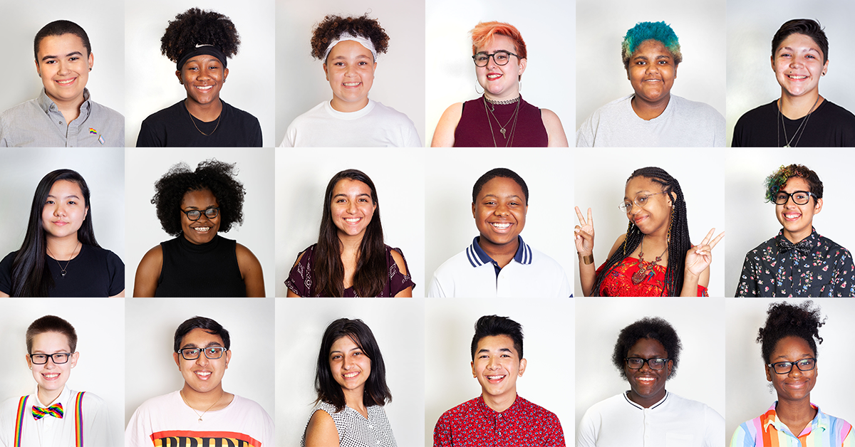 Collage of headshots of queer youth that compose GLSEN's 2018-2019 National Student Council