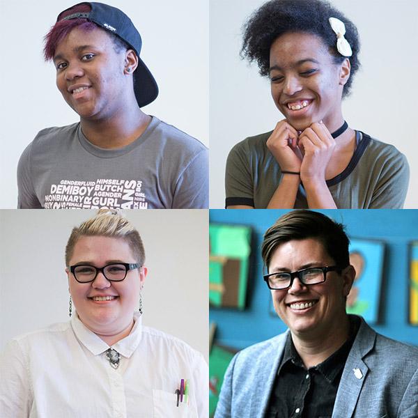 Headshots of 4 trans students and educators