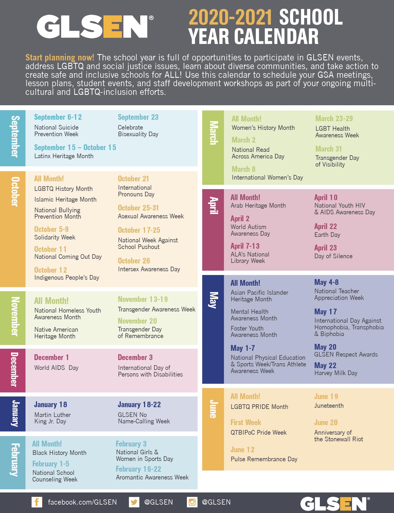 GLSEN's 2020-2021 School Year Calendar