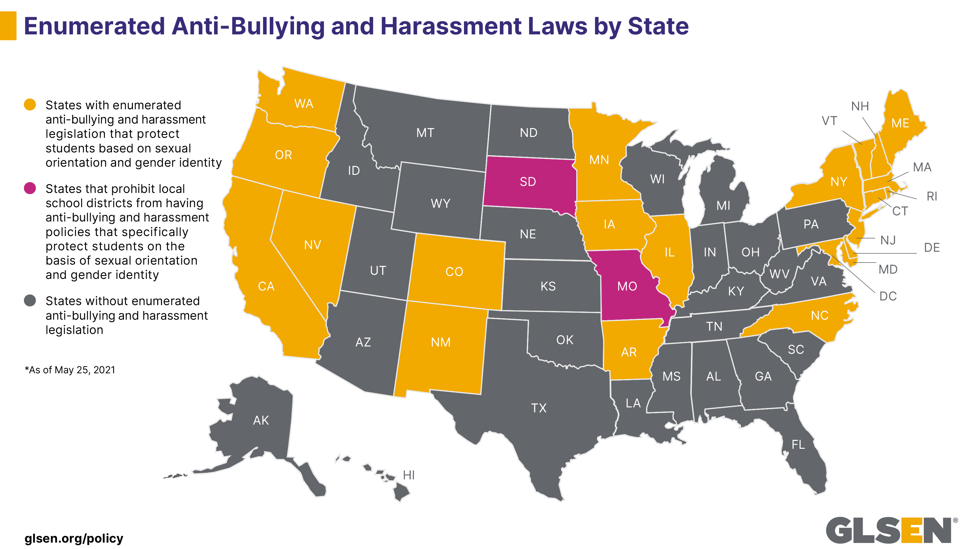 Enumerated Anti-Bullying Laws Protecting LGBTQ Students State by State
