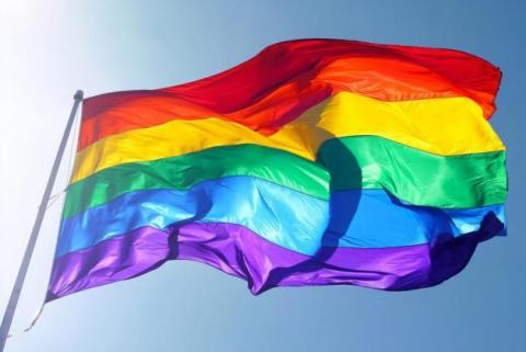 Image of rainbow flag waving in the wind