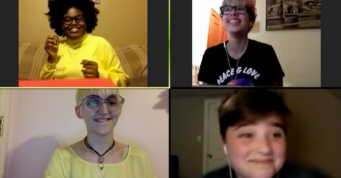 A screenshot of 4 students talking on zoom.