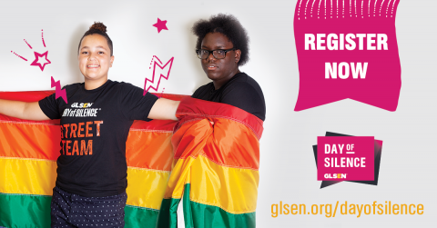 "Image is two queer students wrapped in the rainbow flag with cartoon stars around them and the words ""Register Now, Day of Silence"""