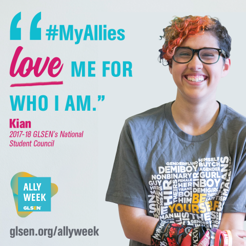 Text: My Allies Love me for who I am. - Kian. National Student Council Member.