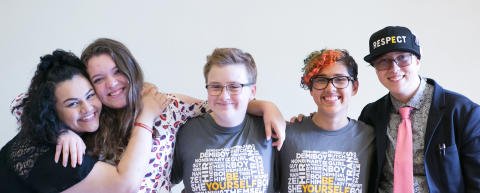 A group of students wearing GLSEN swag.
