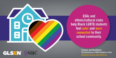 A schoolhouse with a rainbow-filled heart next to the text: GSAs and ethnic/cultural clubs help Black LGBTQ students feel safer and more connected to their school community.