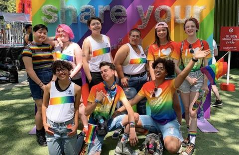 students leaders in rainbow gear at a pride festival