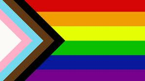 Rainbow pride flag with stripes on the left side in the shape of a triangle that are black, brown, light blue, pink and white