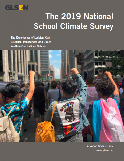 Cover of The 2019 National School Climate Survey research report. The cover photo features three students marching in the 2019 World Pride parade, with their fists in the air. The student on the right is wearing a transgender pride flag, and the center student is wearing a jacket with a rainbow on the back and a Keith Haring illustration of a brown fist in a broken handcuff below the word Resist! in rainbow letters.