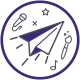 GLSEN's participate icon. An image of a paper airplane with musical notes and microphones.