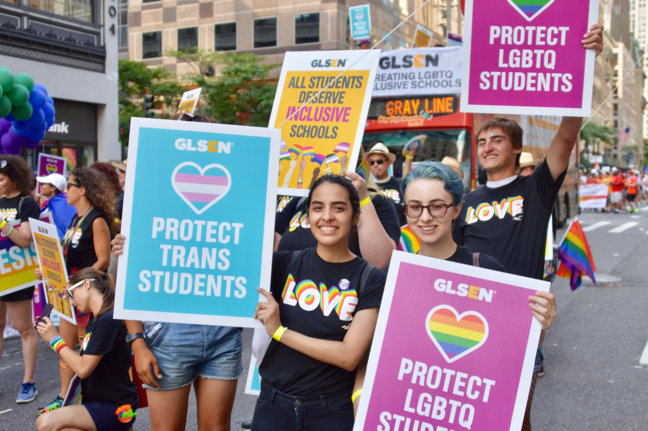 A group of students at the NYC 2017 Pride Parade.